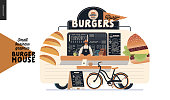 Burger house - small business graphics - food truck - modern flat vector concept illustration of a burgers street food truck van, seller, menu and pavement sign - blackboard with menu, bicycle