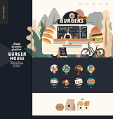 Burger house - small business graphics - landing page design template - modern flat vector concept illustration of a burgers street food truck van, seller, menu, pavement sign, bicycle, icons