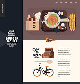 Burger house -small business graphics - landing page design template -modern flat vector concept illustrations -wooden cutting board, burger, sauce, eggs, cutlery, condiments, bicycle, cash register