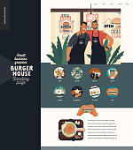 Burger house -small business graphics - landing page design template -modern flat vector concept illustrations -two young men wearing branded aprons standing embraced, icons, burger on cutting board