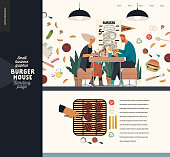 Burger house -small business graphics - landing page design template -modern flat vector concept illustrations -young couple eating burgers at the table in burger restaurant, interior, grilling