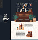 Burger house - small business graphics - landing page design template -modern flat vector concept illustrations - a waiter at the counter, interior, chalk lettering behind, cash register, condiments