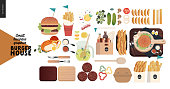 Burger house - small business graphics - menu set -modern flat vector concept illustrations - cheeseburger, French fries, lemonade, condiments, eggs, bacon, cutlery, cutting boards, take out package