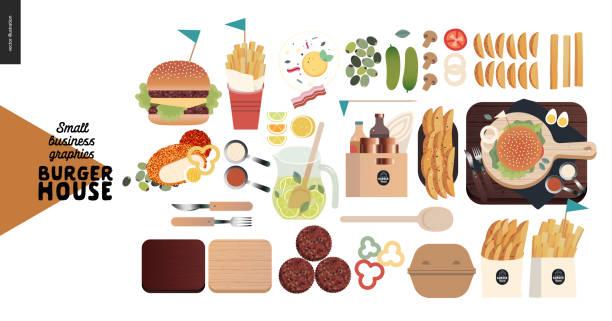 burgerhaus - kleinunternehmen grafiken - menüset - hamburger schnellgericht stock-grafiken, -clipart, -cartoons und -symbole