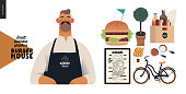 Burger house -small business graphics - owner -modern flat vector concept illustrations of a bearded man wearing apron, cheeseburger exploded view poster, condiments, bicycle, french fries, sauce