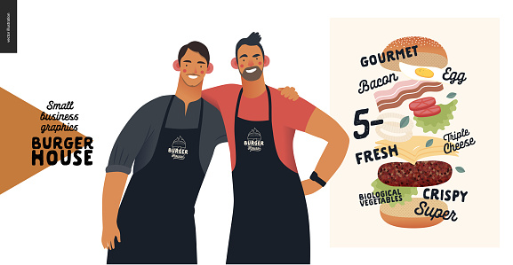 Burger house -small business graphics - owners -modern flat vector concept illustrations -two young men wearing branded aprons standing embraced, cheeseburger exploded view poster