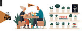 Burger house -small business graphics - visitors -modern flat vector concept illustrations -young couple eating burgers at the table in burger restaurant, interior, cheeseburger exploded view poster