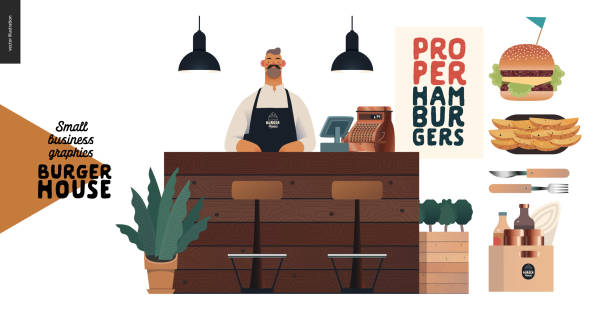 burger house - small business graphics - waiter and food - small business owner stock illustrations