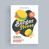 Burger House template or flyer design with fast food illustration.