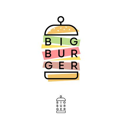 Burger Hub logo. Burger restaurant emblem like applique.
