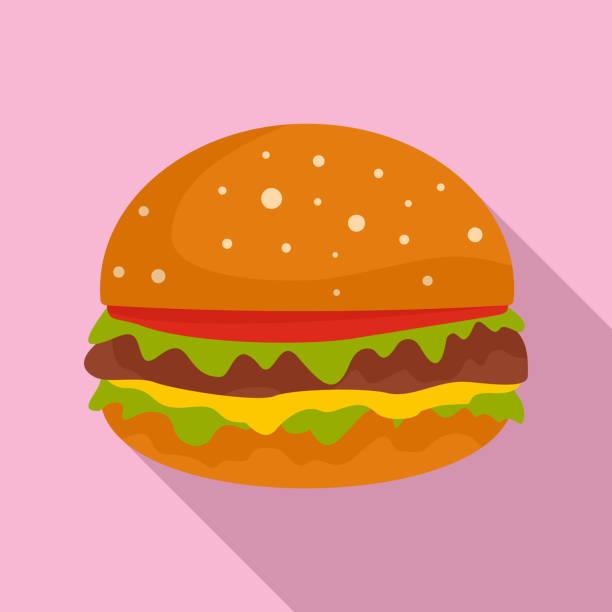 burger-symbol, flachen stil - salatbar stock-grafiken, -clipart, -cartoons und -symbole