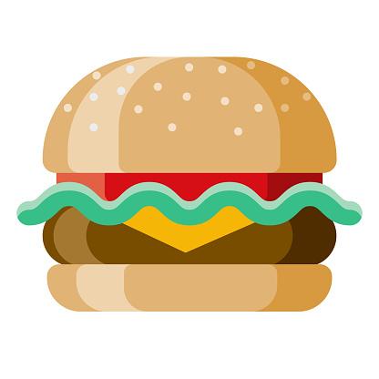 Burger Icon on Transparent Background