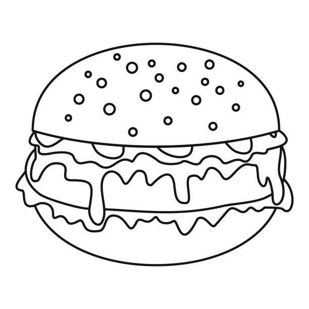 burger-symbol, umriss-stil - salatbar stock-grafiken, -clipart, -cartoons und -symbole
