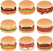 A set of burger food icons. No gradients used.