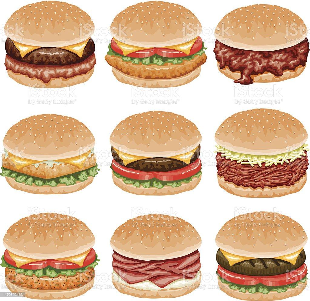 Burger Icon Set vector art illustration