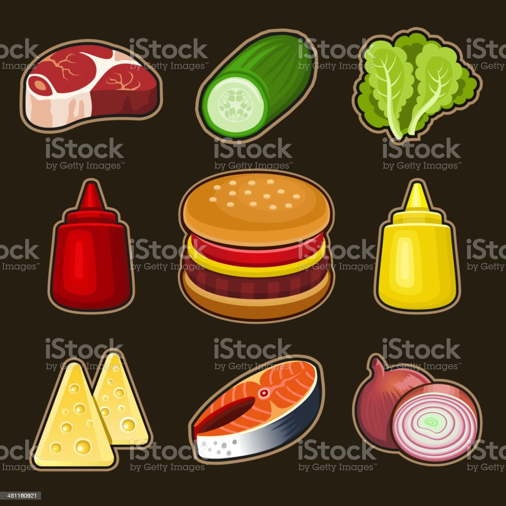Burger icons set royalty-free stock vector art