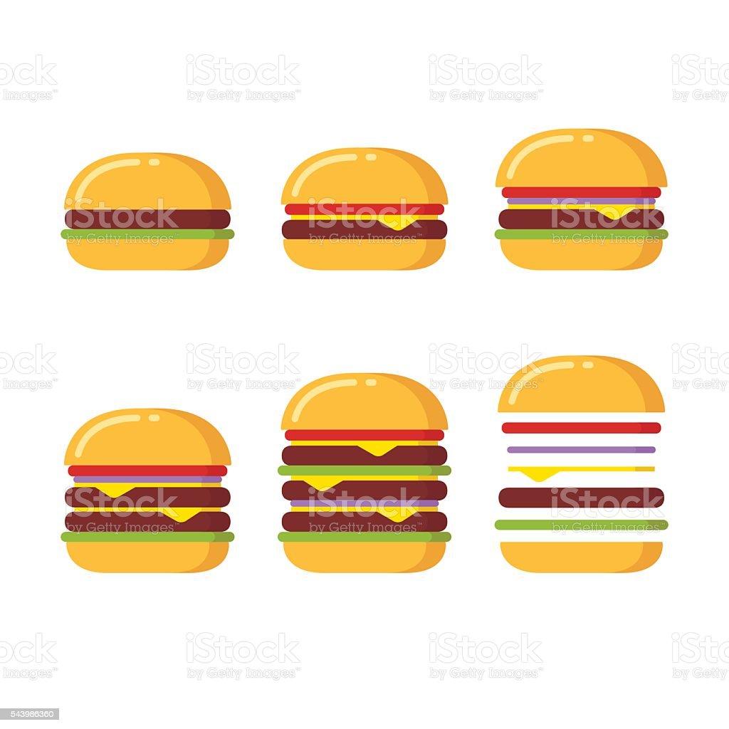 Burger icons set vector art illustration
