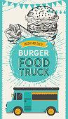Burger illustration for food restaurant and truck on vintage background.