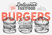 istock Burger illustration for restaurant on vintage background. Vector hand drawn poster for fast food cafe and hamburger truck. Design with lettering and doodle graphic vegetables. 1142829756
