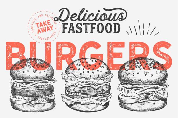 illustrazioni stock, clip art, cartoni animati e icone di tendenza di illustrazione di hamburger per ristorante su sfondo vintage. poster disegnato a mano vettoriale per fast food café e camion hamburger. design con scritte e verdure grafiche doodle. - hamburger