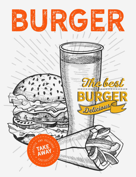 burger illustration for restaurant on vintage background. vector hand drawn poster for fast food cafe and hamburger truck. design with lettering and doodle graphic vegetables. - food delivery stock illustrations