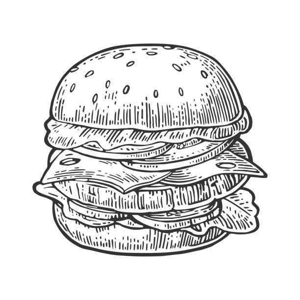burger sind schnitzel, tomaten, käse, gurken und salat isoliert auf weißem hintergrund - burger stock-grafiken, -clipart, -cartoons und -symbole