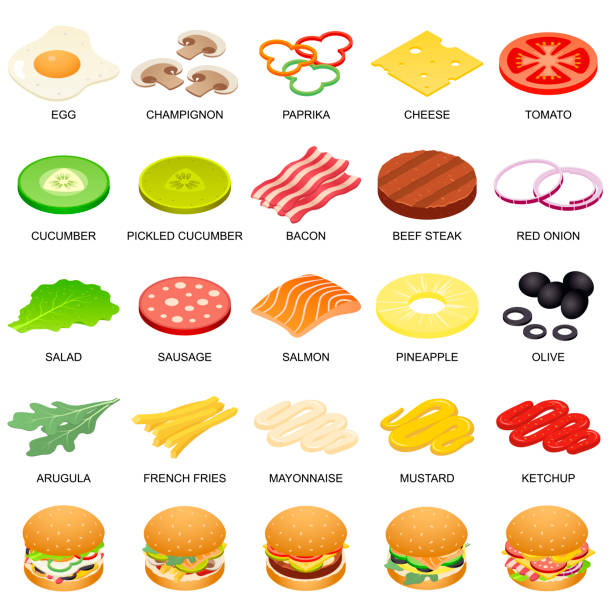 Burger ingredient icons set, isometric style Burger ingredient icons set. Isometric illustration of 25 burger ingredient food vector icons for web pickle slice stock illustrations