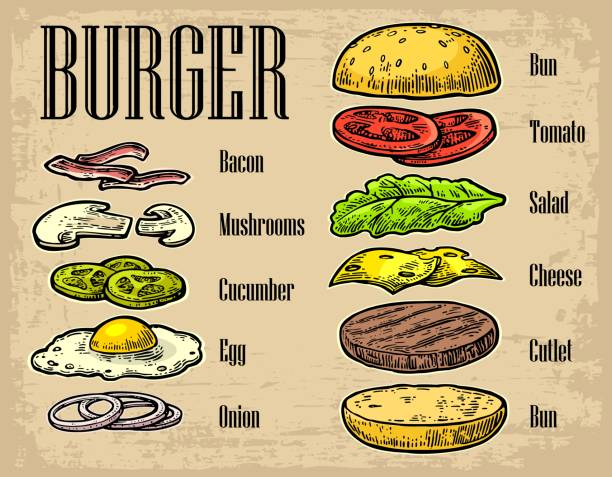 burger ingredients on black background. - cheeseburger stock illustrations