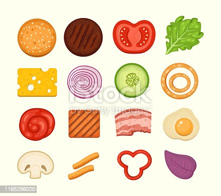 Burger ingredients set of vector icons in midern cartoon style. Burgers constructor top view, cheeseburger parts collection
