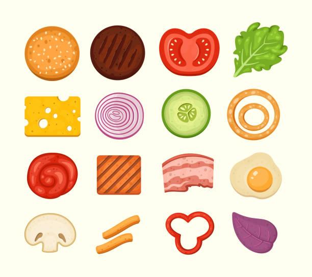 burger zutaten satz von vektor-symbole in midern cartoon-stil. burgers konstruktor top view, cheeseburger teile sammlung. - hamburger schnellgericht stock-grafiken, -clipart, -cartoons und -symbole