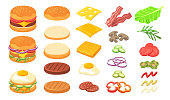 Burger ingredients set. Wheat and rye bread, cheese slices, omelet, roasted eggs, ham, bacon, pickles, tomato, lettuce, sauce. Can be used for fast food restaurant, hamburger, cheeseburger concept