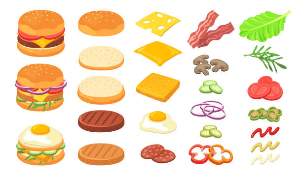Burger ingredients set Burger ingredients set. Wheat and rye bread, cheese slices, omelet, roasted eggs, ham, bacon, pickles, tomato, lettuce, sauce. Can be used for fast food restaurant, hamburger, cheeseburger concept pickle slice stock illustrations