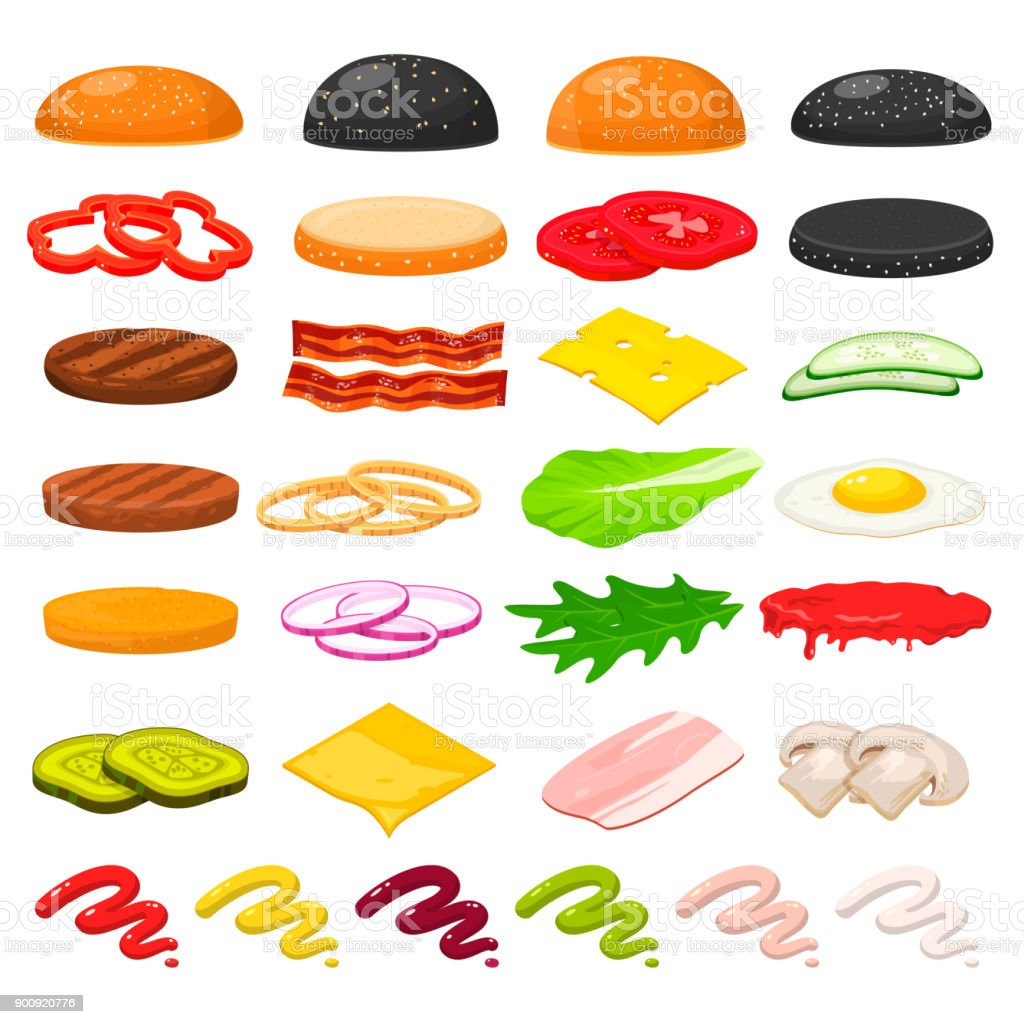 Burger ingredients set vector art illustration