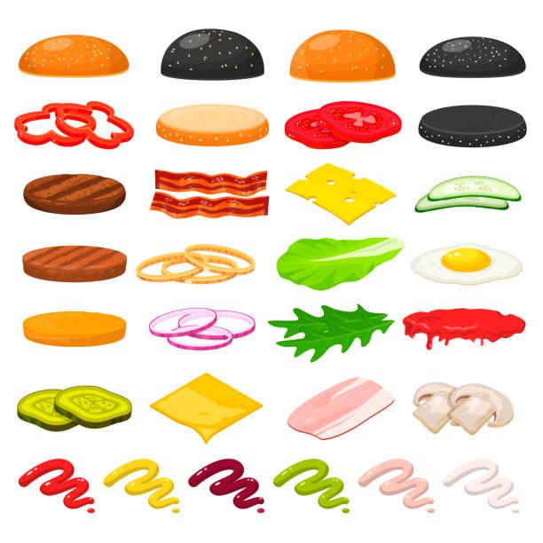 ilustrações, clipart, desenhos animados e ícones de conjunto de ingredientes do hambúrguer - ingredientes