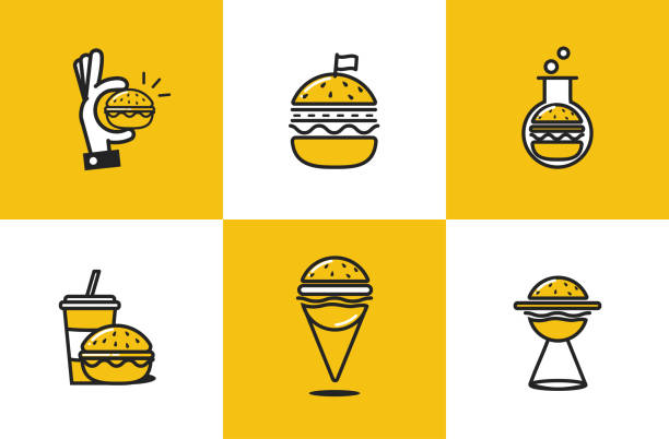 burger line art icon set. fast food delivery logo  concept - burgers stock illustrations, clip art, cartoons, & icons