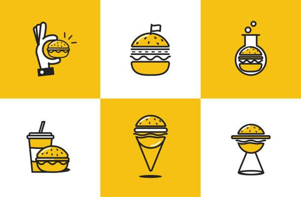 bildbanksillustrationer, clip art samt tecknat material och ikoner med burger linje konst ikonuppsättning. snabbmat leverans logotyp koncept - cheese sandwich
