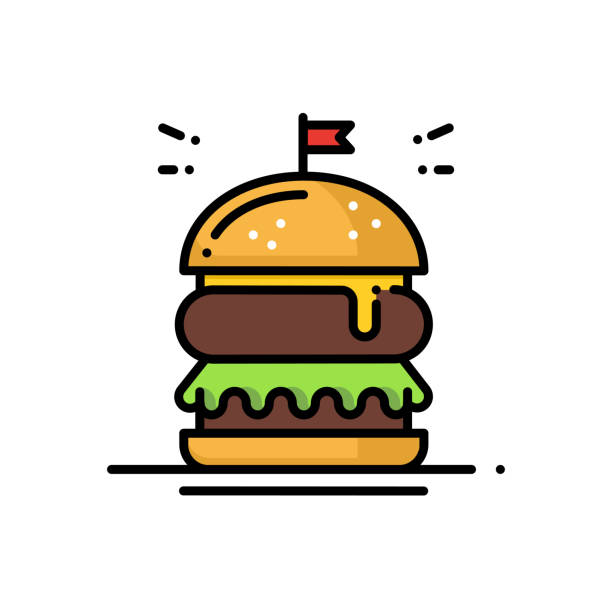 stockillustraties, clipart, cartoons en iconen met hamburger lijn pictogram. sign hamburger en symbool. fast food. - hamburgers