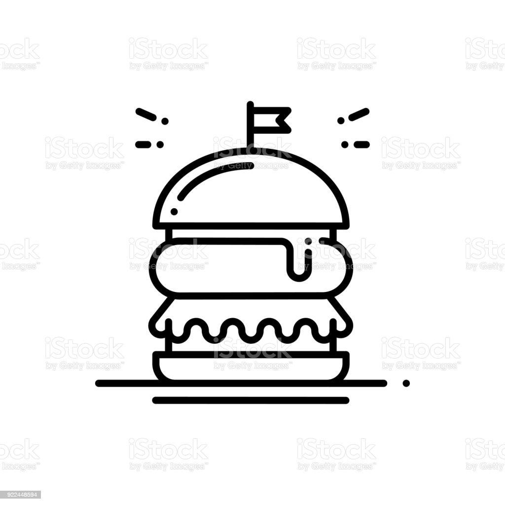 Burger Line Icon Hamburger Sign And Symbol Fast Food Stock Vector