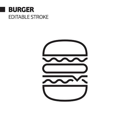 Burger Line Icon, Outline Vector Symbol Illustration. Pixel Perfect, Editable Stroke.