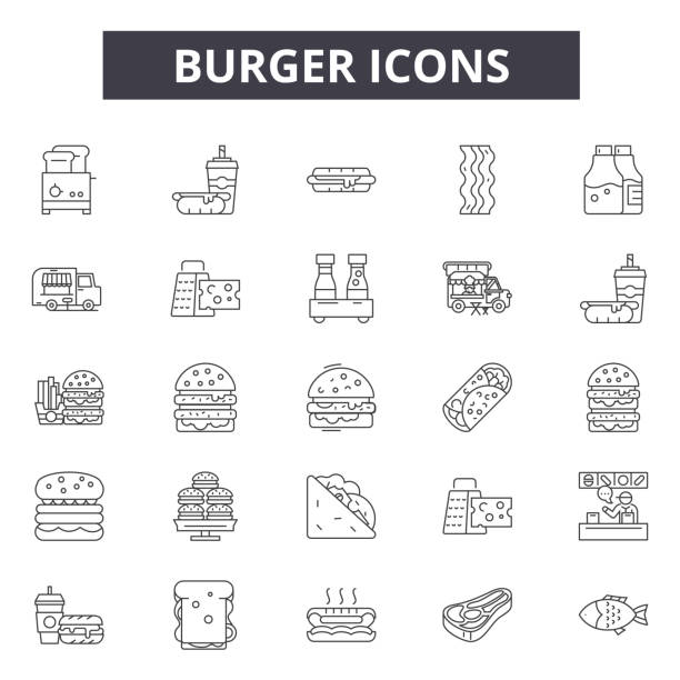 burger line icons, signs, vector set, linear concept, outline illustration - junk food stock illustrations, clip art, cartoons, & icons
