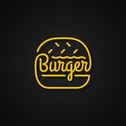 Burger linear design. Yellow burger on black background