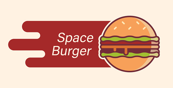 Burger logo as planet flying in the space.
