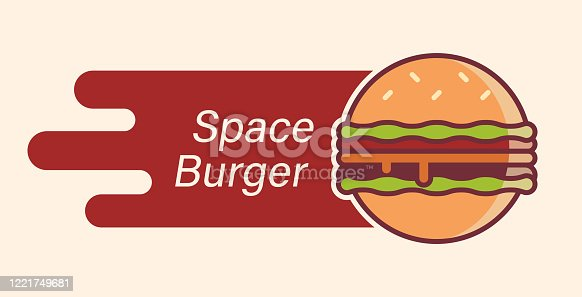 istock Burger logo as planet flying in the space. 1221749681