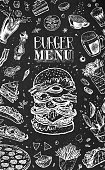 Burger menu design template for restaurants and cafes. White chalk icons on black. Hand drawn hamburger sketch, coffee, french fries, tacos, burritos, beer and pizza. Vector vintage retro art