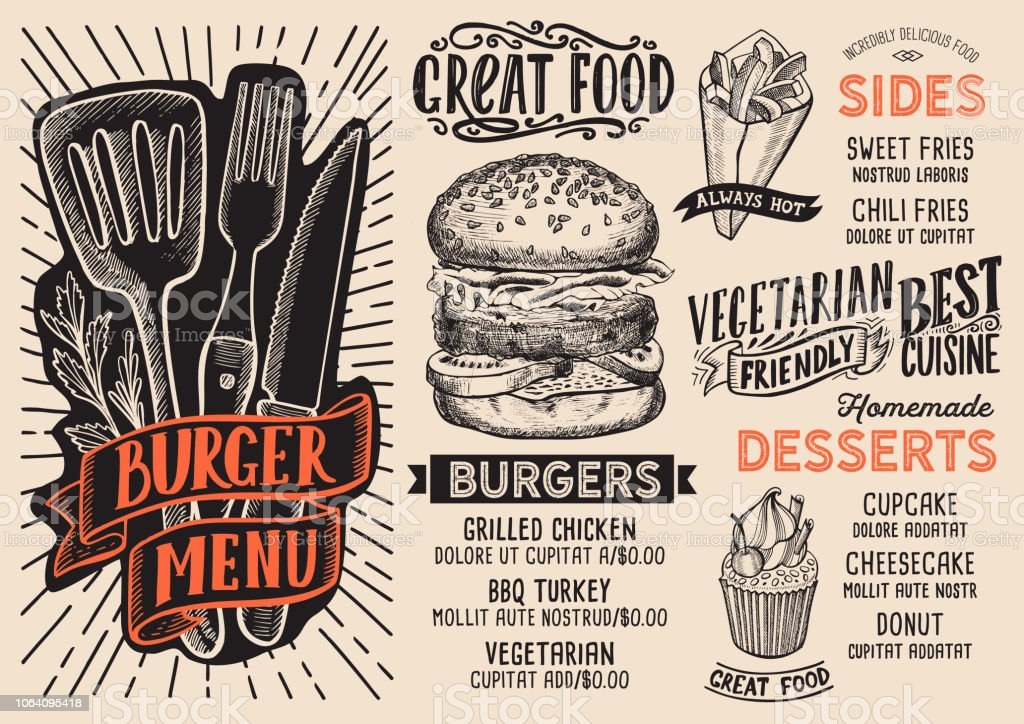 Burger Menu Food Template For Restaurant With Doodle Hand Drawn Graphic Royalty Free