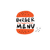 Burger menu. Hand drawn illustration of burger and inscription. Vector design, isolated on white.