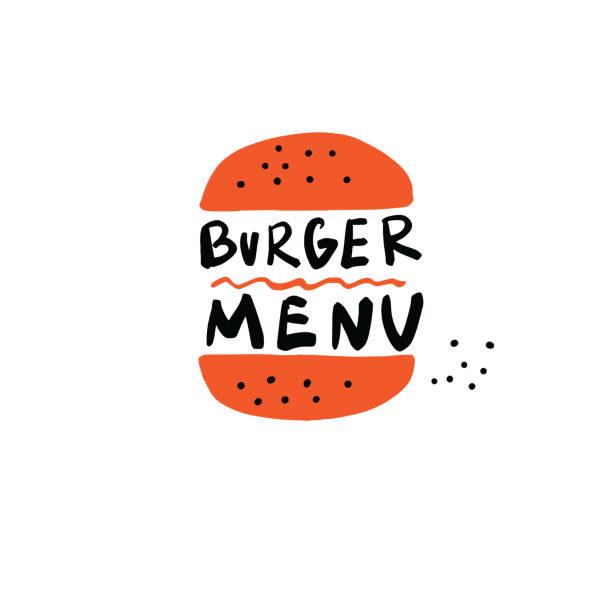 bildbanksillustrationer, clip art samt tecknat material och ikoner med burger menyn. handritad illustration av hamburgare och inskription. vektor design - cheese sandwich