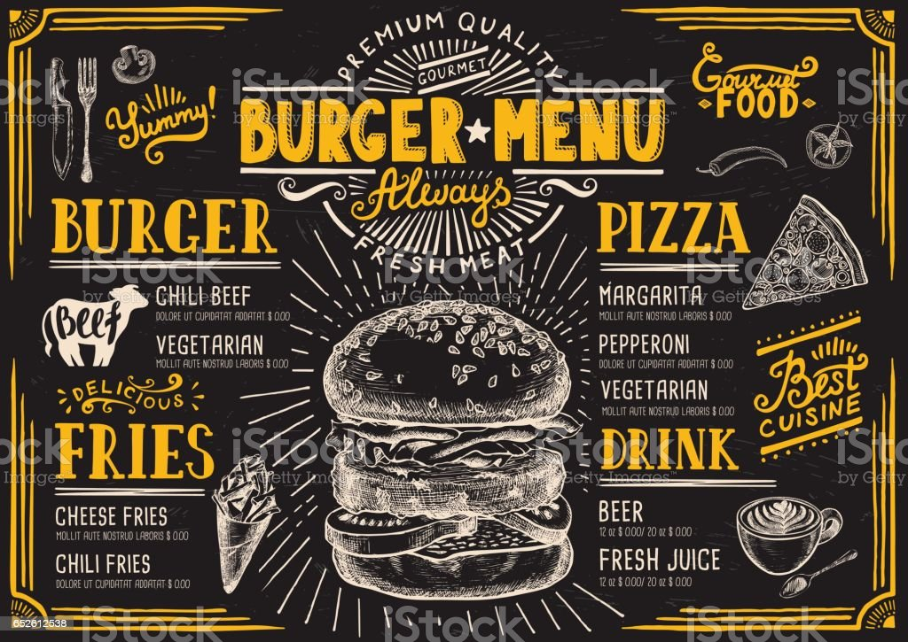 Restaurant de menu Burger, modèle alimentaire. - Illustration vectorielle