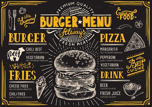 Burgermenürestaurant Essenvorlage Stock Vektor Art und mehr Bilder von Altertümlich