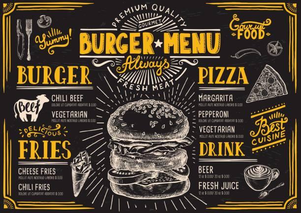 burger menu restaurant, food template. - fine dining stock illustrations, clip art, cartoons, & icons